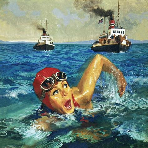 First Woman to Swim the Channel: Gertrude Ederle Lámina giclée