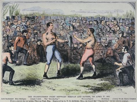 John Heenan V. Tom Sayers, 17th April, 1860 Giclee Print