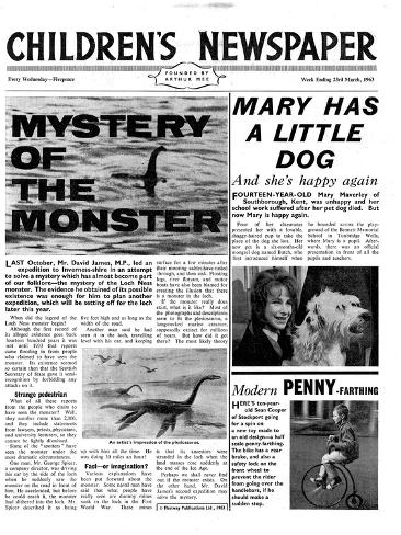 Mystery of the Monster, Front Page of 'The Children's Newspaper', March 1963 Giclee Print