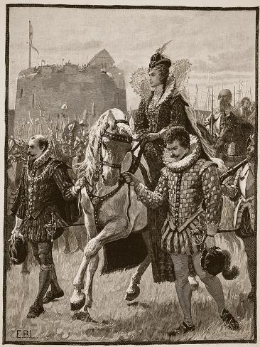 Queen Elizabeth at Tilbury, Illustration from 'Cassell's Illustrated History of England' Giclee Print