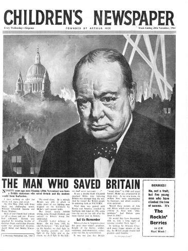 Winston Churchill: the Man Who Saved Britain, Front Page of 'The Children's Newspaper' Giclee Print