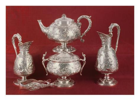 Teaset with Chased Decoration, in the French Style, London, 1874-75 (Silver) Giclée-vedos