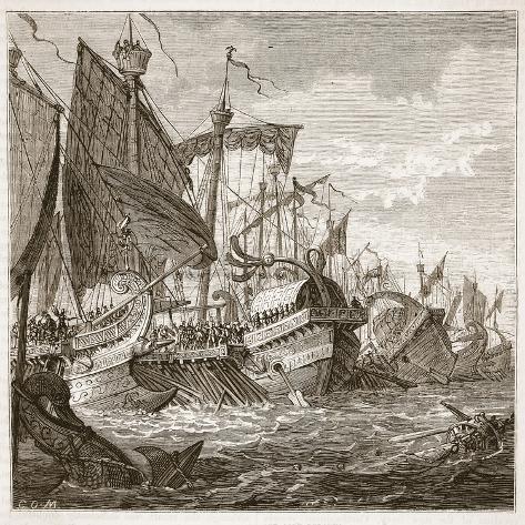 The Naval Battle Off Cape Pelorus (Litho) Giclee Print