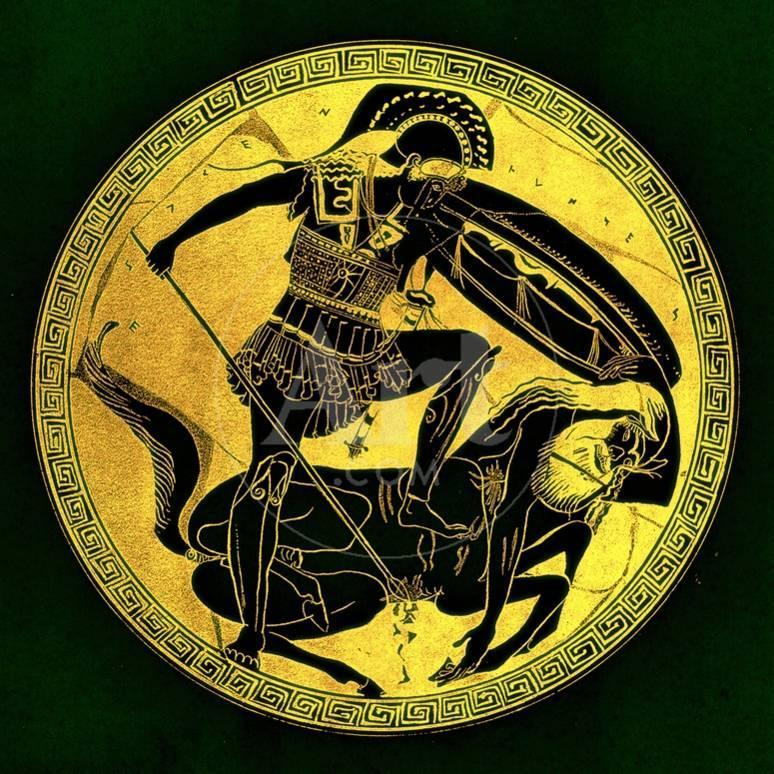 Warrior And Centaur Illustration From Greek Vase Paintings Giclee
