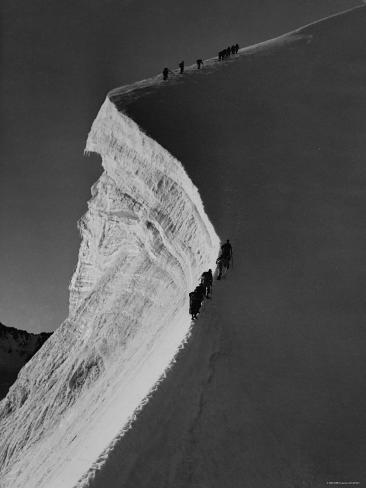 Englishmen Climbing Along Edge of Precipice on 13,000 Ft. Piz Bernina, in the Alps Switzerland Photographic Print
