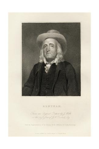 Engraved Portrait of Jeremy Bentham Giclee Print