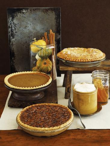 Autumn Pies: Apple/Pear, Pumpkin, and Pecan with Honey and Whipped Cream Photographic Print