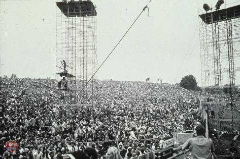 Woodstock Crowd With Scaffolding Black And White Print