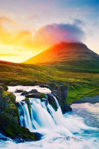 Sunset Waterfall Amazing Nature Landscape Photographic