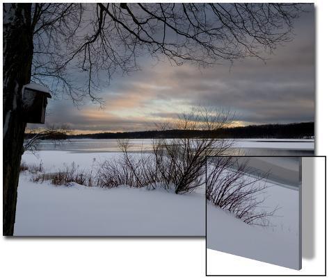 Birdhouse at Sunset by West Lake, Danbury, Connecticut Art on Acrylic