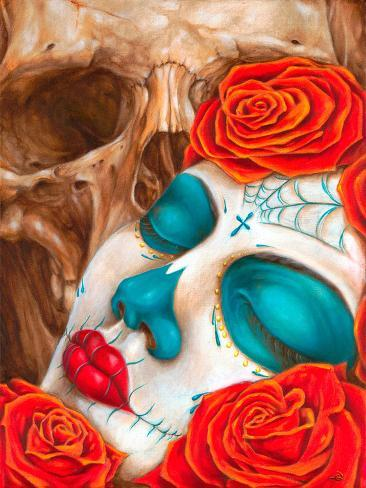 Skull & Roses Stretched Canvas Print