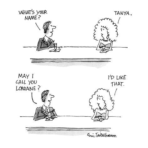 Man & woman at bar. Man asks: Woman says: