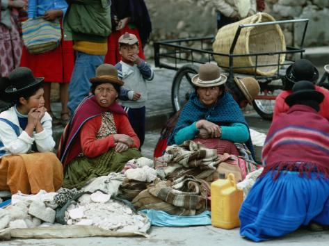 Aymara Indian Women Sitting Together, Puno, Peru Photographic Print