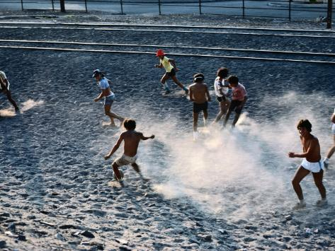 Children Playing Soccer Game in Street, Antofagasta, Chile Photographic Print