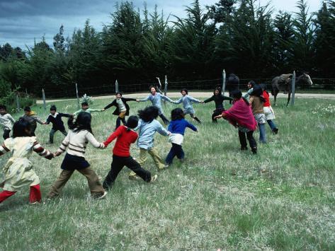Indigenous Mapuche Children Playing on Outskirts of Town, Chol Chol, La Araucania, Chile Photographic Print