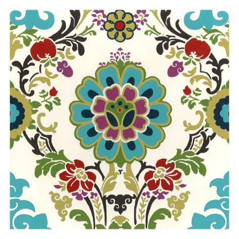 Jewel-Tone Damask I Art Print