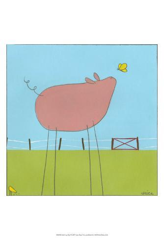 Stick-Leg Pig I Art Print