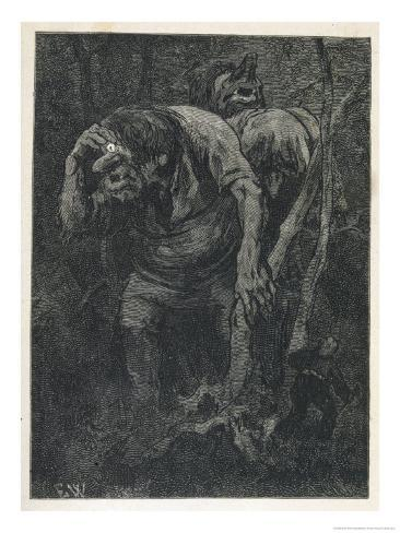Woodcutter Keeps Prudently out of the Way of Some Very Large Trolls Giclee Print