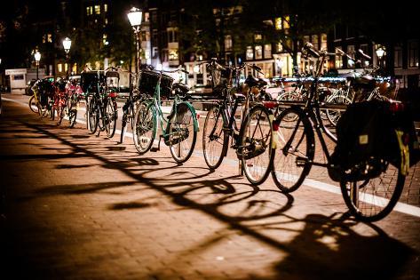 Amsterdam Bikes at Night I Valokuvavedos
