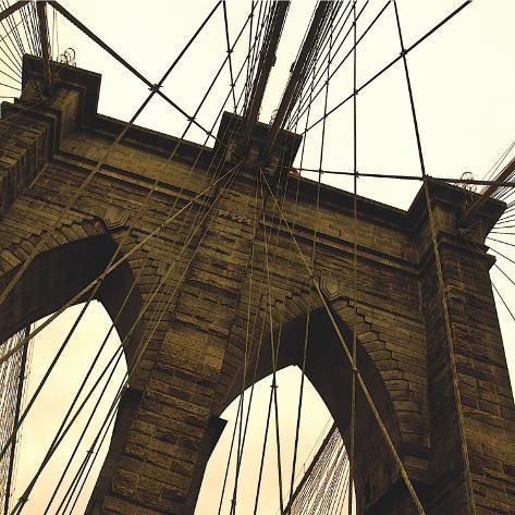 Brooklyn Bridge II (sepia) (detail) Stretched Canvas Print