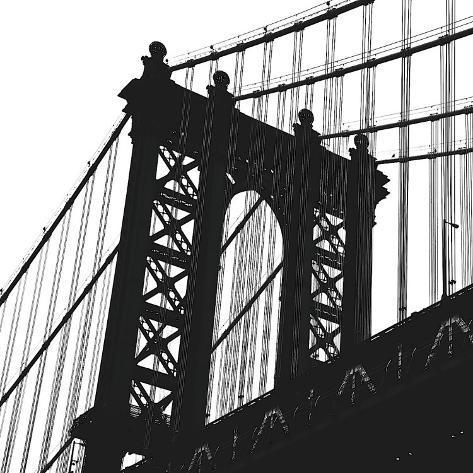 Manhattan Bridge Silhouette (detail) Stretched Canvas Print