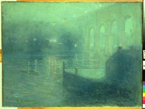 Harlem River at Night, Blue Reflection Giclee Print