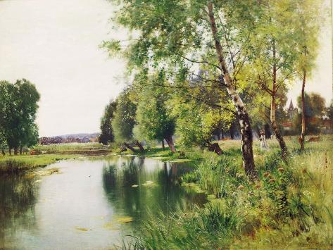 A River Landscape in Summer Giclee Print