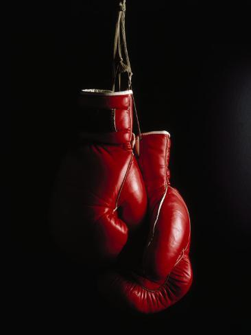 Hanging Boxing Gloves Photographic Print