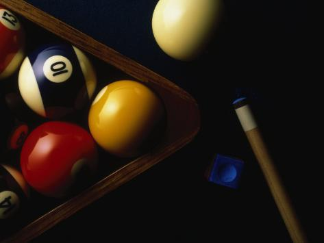 Rack of Pool Balls with Chalk and Cue Photographic Print