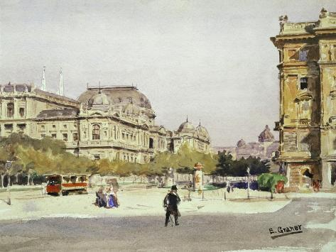 Ring and Opera House in Vienna, Austria Giclee Print