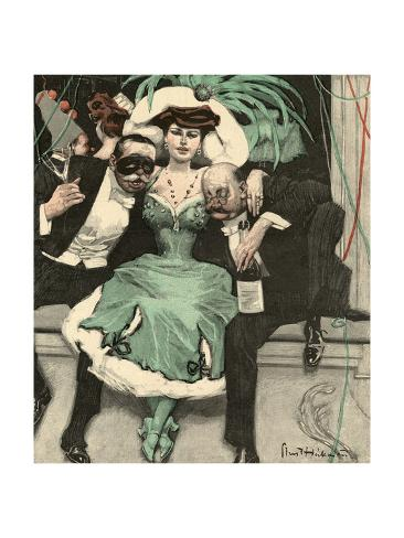 Masked Ball, Green Dress Stampa giclée