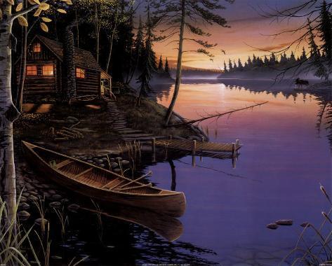 Canoe at the Cabin Art Print