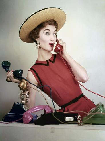 Vogue - April 1953 - Juggling Phone Calls Photographic Print