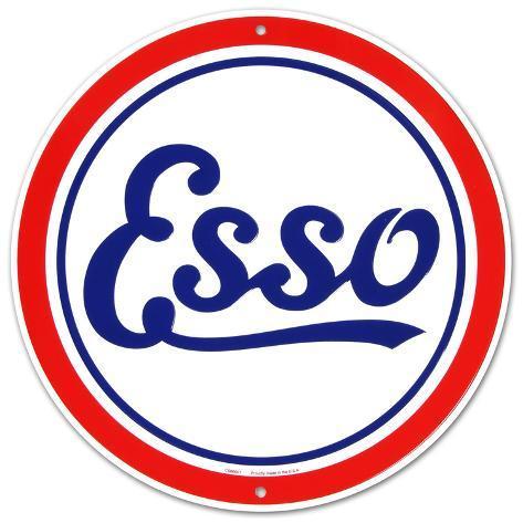 Esso Oil Gasoline Logo Round Tin Sign