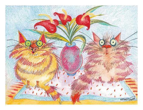Two Cat Companions Giclee Print