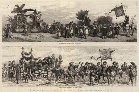 Etchings of the Equestrian Court Festival at Vienna in 1879 Giclee Print