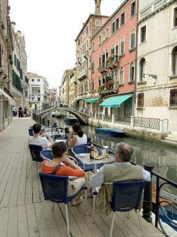 Canalside Cafe, Venice, Veneto, Italy Photographic Print