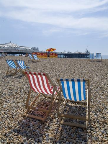 Deck Chairs and Pier, Brighton Beach, Brighton, Sussex, England, United Kingdom Photographic Print