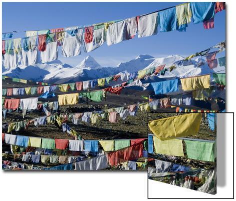 Prayer Flags, Himalayas, Tibet, China Art on Acrylic