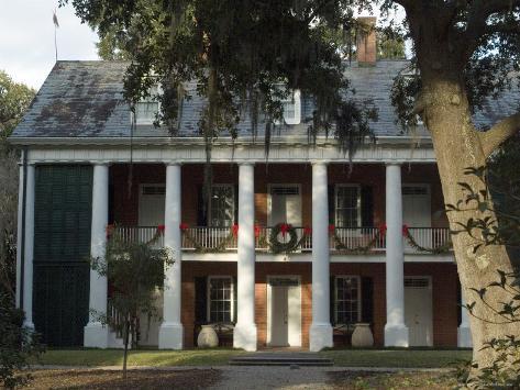 Shadows on the Teche Plantation House, New Iberia, Louisiana, USA Photographic Print