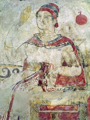 Woman at Her Toilet, Detail from a Funerary Scene, Samnite Period, 5th-4th Century BC Giclee Print