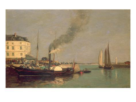 Honfleur. La Jetee, 1854-57 (Oil on Panel) Giclee Print