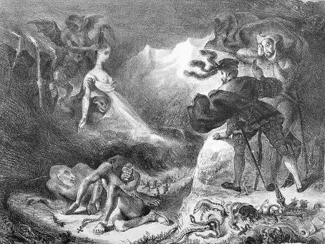 Faust and Mephistopheles at the Witches' Sabbath, from Goethe's Faust, 1828 Lámina giclée