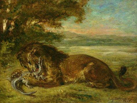 Lion and Alligator, 1863 Giclee Print