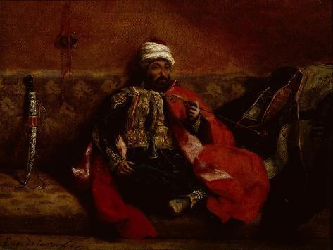 Turk Smoking Sitting on a Sofa, c.1825 Lámina giclée
