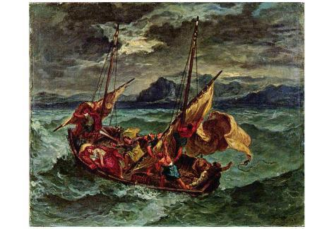 Eugène Ferdinand Victor Delacroix (Christ on the Sea of Galilee) Art Poster Print Poster