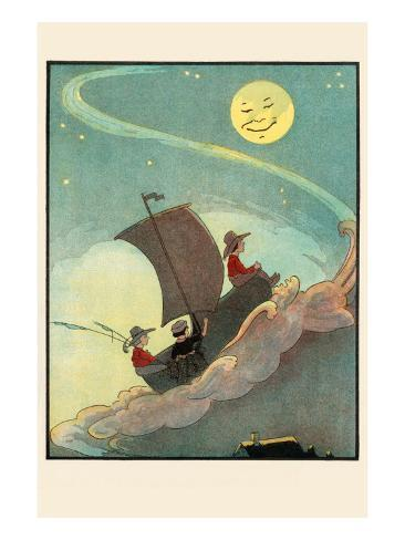 Sailing The Wooden Shoe By Moonlight Art Print