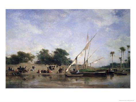 Boats on the Nile Giclee Print