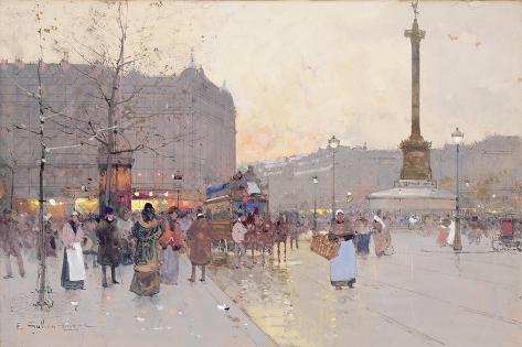 Figures in the Place De La Bastille Giclee Print