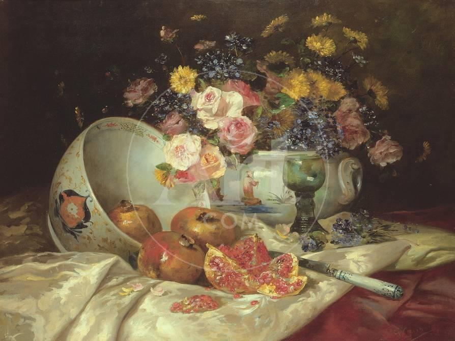 Still Life Of Flowers In A Chinese Vase With Pomegranates Giclee